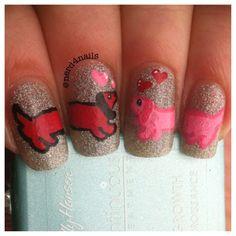 dog nail art | Weenie dog nail art