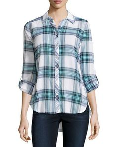 Neiman Marcus Long-Sleeve Plaid Button Blouse, Lagoon/Natural  New offer @@@ Price :$78 Price Sale $55