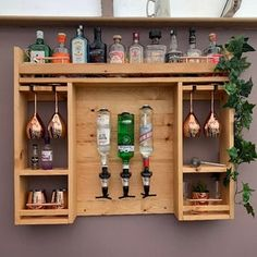 Wooden Garden Wall Bar With Copper Pipe | Etsy Garden Bar, Home And Garden, Garden Ideas, Copper Pipe Shelves, Copper Bar, Bottle Display, Serving Table, Pub Bar, Reclaimed Timber