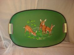 Vtg Oval Deer Fawns Frog Woodsy Green w Handles 11 by 17 inches Serving Tray