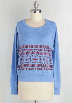 Collaborate with Comfort Top. Wrap yourself in cozy comfort when you slip into this whimsical top by MNKR! #blue #modcloth