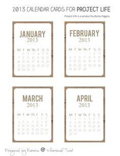 FREE 2013 printable Mini Calendar