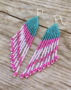 Seed Bead Earrings, Long Fringe Earrings, Beaded Earrings, Pink, #Pink, Blue, #Turquoise, Modern Earrings, Statement Piece #letyourcolorout with some fun and colorful earrings! #jewelry #earrings #Etsy #Bold #Fun