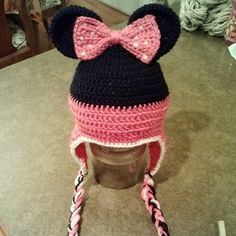 Minnie Mouse winter hat by ChickadeeFrills on Etsy, $20.00