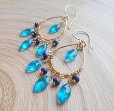 Ilona gemstone teardrop hoop chandelier earrings swiss blue quartz lapis lazuli gold fill wire December birthstone mothers day gift for her Lapis lazuli is the Traditional birthstone for December and the accepted gem for the seventh and ninth wedding anniversary. Top quality lapis