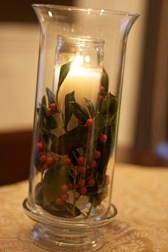 Christmas Candle - I really like the look of the candle in glass then added to greenery in the hurricane.  - Here is her cost break down: Vase Dollar Tree $1Candle- Dollar Tree $1Candle Base- Walmart $2Holly- Free from my front yard - from vanessadolberry.blogspot.com