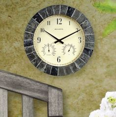Clock Thermometer Indoor Outdoor Hygrometer Stone Patio Deck Garden Analog  Slate