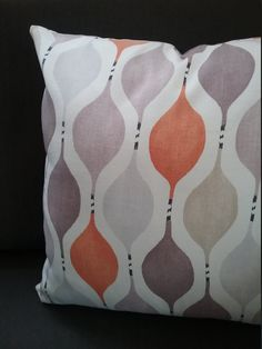 geometric pillow cover orange lilac beige grey white pillow