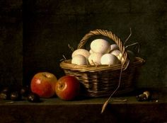 Basket of eggs and apples