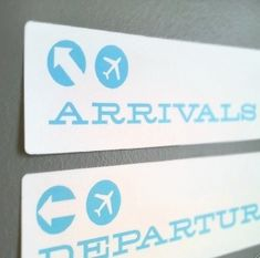 Directional signs for a Bon Voyage party. Great idea!