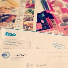 """April 3: My """"mail"""" is typically an eclectic mix of documents for my business, magazines and coupons. #PhotoADayApril"""