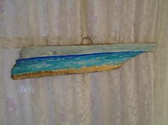 Beautiful Ocean Painting on an AMAZING Piece of Driftwood in