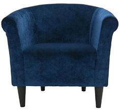 Upholstered Club Chair Traditional Savannah Padded Accent Lounge with Legs Made In USA (Blue)