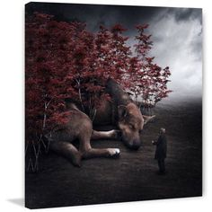Marmont Hill Giant Dog Surreal Artists Mixed Media Print on Canvas, Size: 24 inch x 24 inch, Multicolor