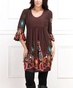 Love this Brown Floral Empire-Waist Dress - Plus by  on #zulily! #zulilyfinds
