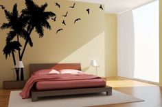 Palm Tree Decal Seagulls Birds Vinyl Wall Art $79.95