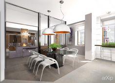 """Дизайн кухни-столовой ЖК """"Ковенский 5"""": интерьер, квартира, дом, кухня, современный, модернизм, 20 - 30 м2, камин, печь #interiordesign #apartment #house #kitchen #cuisine #table #cookroom #modern #20_30m2 #fireplace #stove arXip.com"""
