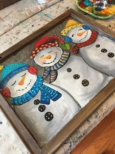 Painted Window Screens, Christmas Art, Homemade Christmas, Christmas Ideas, Bel Art, Christmas Paintings On Canvas, Block Painting, Snowman Decorations, Painted Boards