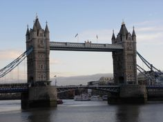 The Tower Bridge in London over the River Thames.