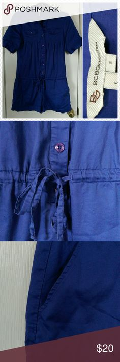 BCBGeneration Blue Timber, Button Down, Size S Great condition blue romper.  100% Cotton, machine wash cold, tumble dry. Romper shorts have an inner lining.  Color is in between navy and royal blue. Very fun for summer. BCBGeneration Other