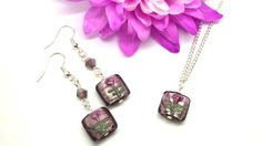 Rose Purple Flower Earring & Necklace Set by SpiritShineOn. £8.98 #Spring #Jewellery #Beauty #Fashion #Rose #Necklace #Earrings #Romantic #Pretty #Womens #Gift