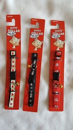 New Kitty Collars With Bell Lot of 3 - Black/Red/White - Pet Cat Supplies #RegentProducts