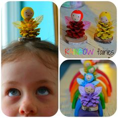 Rainbow Pinecone Fairies! Step by step tutorial shows how to turn pinecones into cute fairies with pinecone bodies, dyed wings, and sweet faces painted on wooden beads. Make a fairy for each color of the rainbow! Fun kid craft!