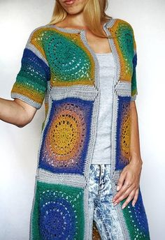 Granny square crochet cardigan exravagant loose fit fashion yarn granny coat artistic knit fringe ex Loose Knit Sweaters, Chunky Knit Cardigan, Cardigan Sweaters For Women, Cardigans For Women, Kimono Cardigan, Gilet Crochet, Crochet Cardigan Pattern, Easy Crochet Patterns, Crochet Granny