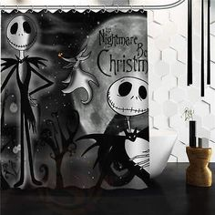Nightmare Before Christmas Theme Black and White Shower Curtain