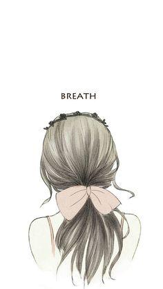 Let's breath together Girly Drawings, Art Drawings Sketches Simple, Anime Girl Drawings, Anime Art Girl, Cute Girl Drawing, Cartoon Girl Drawing, Girl Cartoon, Cartoon Art, Cover Wattpad