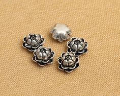 Bali Sterling Silver Spacer Beads Lotus Flower Antique Oxidized 925 Silver Jewelry Findings Charm Bead S265