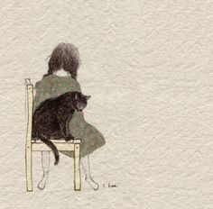 cat, girl, and illustration 이미지 Kunstjournal Inspiration, Korean Artist, Cat Drawing, Cute Illustration, Cat Art, Art Reference, Watercolor Art, Silhouette, Drawings
