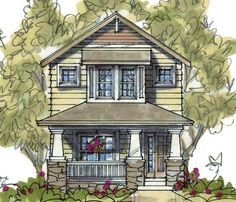 <!-- Generated by XStandard version 2.0.0.0 on 2010-04-06T14:01:07 --><ul><li>At 20' wide, this Craftsman home plan is great for a narrow lot.</li><li>The family room has a fireplce and built-in shelving.</li><li>The kitchen has an island with counter seating. Sliding doors in the breakfast nook lead out back. Note the built-in desk.</li><li>Three bedrooms are on the second floor.</li><li><strong>Related Plan</strong>: Get an attached garage with house plan <a…