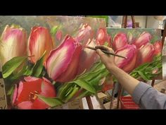 Весеннее тюльпаны. Мастер-класс. Tulips. Master class by Oleg Buyko on two canvases. - YouTube