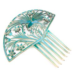 Large Art Deco turquoise hair comb with parrot Spanish style hair accessory headdress headpiece decorative comb by ElrondsEmporium on Etsy https://www.etsy.com/uk/listing/510036277/large-art-deco-turquoise-hair-comb-with