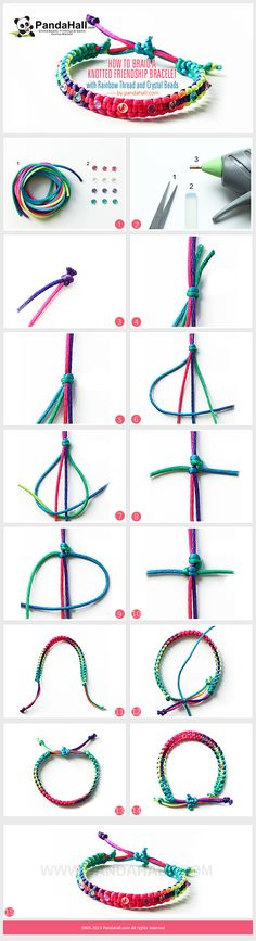 How to Braid a Knotted Friendship Bracelet with Rainbow Thread and Crystal Beads