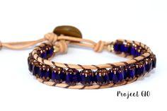 Leather Ancient Glass Beads Wrap Bracelet di Project GLO su DaWanda.com