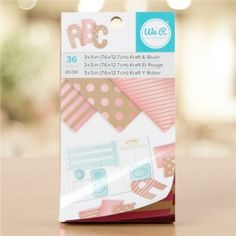 We R Memory Keepers - Paper Pad - 3 x 5 - Kraft With Blush Foil - 36 Sheets