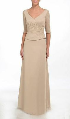 Buy Simple 1/2 Sleeves V-Neck Sheath / Column Chiffon Satin Floor Length Mother Of Bride Dress Online Cheap Prices