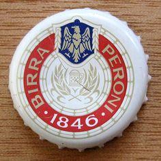 Peroni Beer Caps, Beer Bottle Caps, Bottle Cap Art, Caption, Bottles, Bottle Caps, Frames, Sheet Metal, Ale