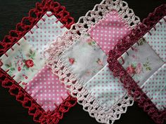 Patchwork coasters with crocheted lace Crochet Quilt Pattern, Crochet Boarders, Crochet Fabric, Crochet Square Patterns, Crochet Buttons, Crochet Cushions, Crochet Gifts, Crochet Motif, Crochet Doilies