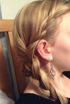 Braid bangs then add to side braid