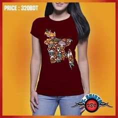 Description Exclusive Stylish 100% Unique Design!! Women's T-Shirt Brand New Designs || Grab your copy before stock out!! Design Name    : BD Map Product Code