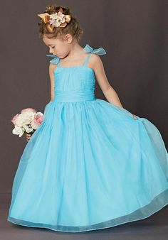 Winsome Blue Spaghetti Straps With Bowknot Pleated Floor Length Attire (FGD-076)