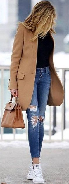 #fall #trending #outfits |  Camel Coat + Black Sweater + Ripped Denim