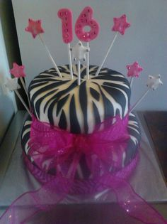 Pink Zebra Print 16th Birthday cake