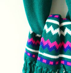 Teal Emerald Vintage Cozy Scarf by thehappyforest