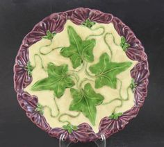 Antique Majolica Plate with Ivy Leaves