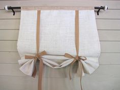 Natural Burlap Mix 60 Inch Long Swedish Roll Up Shade Tie Curtain Stage Coach Blind