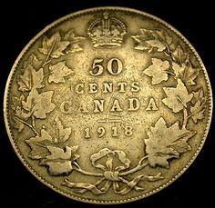 1918 CANADA STERLING SILVER 50 Cents SILVER Half Dollar SCARCE!